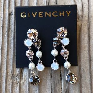 Givenchy Retired Faceted Crystal & Pearl Earrings!
